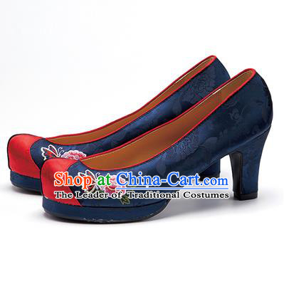 Traditional Korean National Wedding Shoes Navy Embroidered Shoes, Asian Korean Hanbok Embroidery Flowers High-heeled Court Shoes for Women