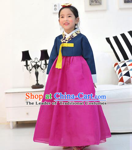 Asian Korean National Handmade Formal Occasions Wedding Embroidered Navy Blouse and Pink Dress Traditional Palace Hanbok Costume for Kids