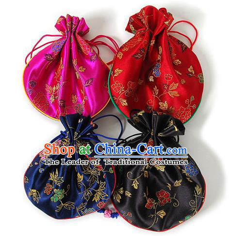 Traditional Korean Accessories Palace Princess Embroidered Purse Sachet, Asian Korean Fashion Lucky Bag for Kids