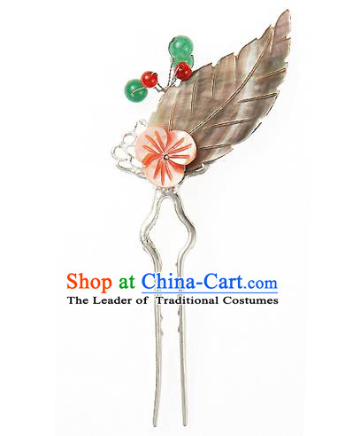 Traditional Korean National Hair Accessories Leaf Hairpins, Korean Palace Hanbok Fashion Headwear for Women