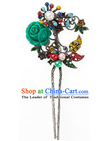 Traditional Korean National Hair Accessories Green Rose Hairpins, Korean Palace Hanbok Fashion Headwear for Women