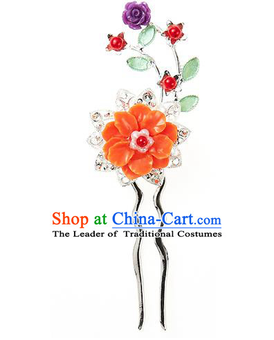 Traditional Korean National Hair Accessories Orange Flowers Hairpins, Korean Palace Hanbok Fashion Headwear for Women