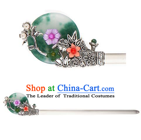 Traditional Korean National Hair Accessories Jade Flowers Hairpins, Korean Palace Hanbok Fashion Headwear for Women