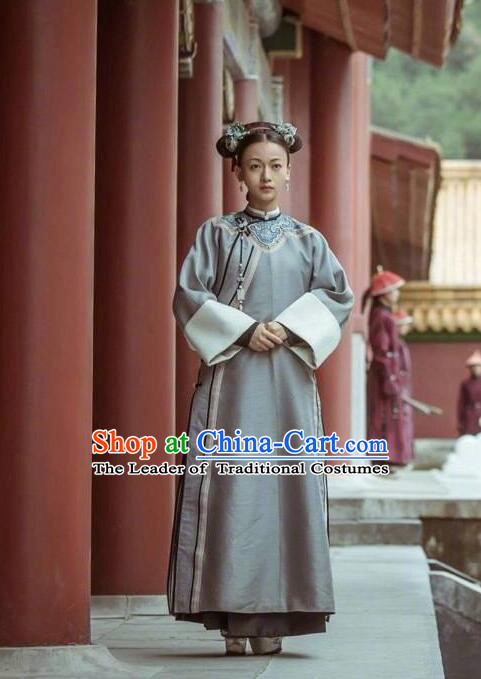 Traditional Chinese Qing Dynasty Palace Lady Costume, Asian China Ancient Manchu Princess Embroidered Clothing for Women