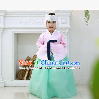 Asian Korean National Handmade Formal Occasions Wedding Clothing Pink Blouse and Green Dress Palace Hanbok Costume for Kids