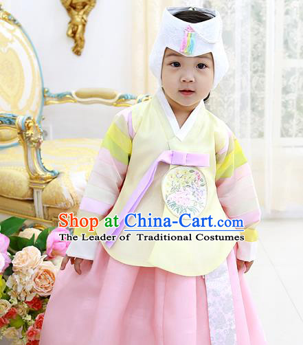 Asian Korean National Handmade Formal Occasions Wedding Clothing Yellow Blouse and Pink Dress Palace Hanbok Costume for Kids