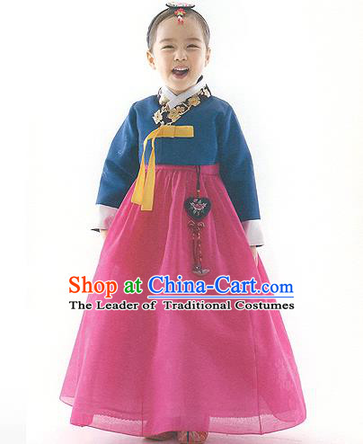 Asian Korean National Handmade Formal Occasions Deep Blue Blouse and Pink Dress Palace Hanbok Costume for Kids