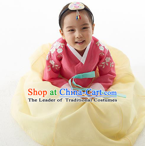 Asian Korean National Handmade Formal Occasions Wedding Clothing Pink Blouse and Yellow Dress Palace Hanbok Costume for Kids
