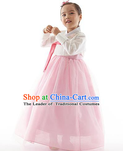 Asian Korean National Handmade Formal Occasions Wedding Clothing White Blouse and Pink Dress Palace Hanbok Costume for Kids