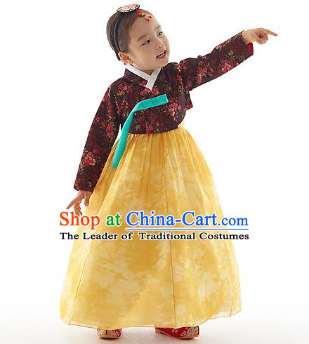 Asian Korean National Handmade Formal Occasions Wedding Clothing Printing Blouse and Yellow Dress Palace Hanbok Costume for Kids