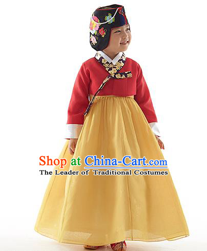 Asian Korean National Handmade Formal Occasions Wedding Clothing Red Embroidered Blouse and Yellow Dress Palace Hanbok Costume for Kids