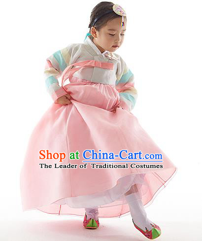 Asian Korean National Handmade Formal Occasions Wedding Clothing Embroidered White Blouse and Pink Dress Palace Hanbok Costume for Kids