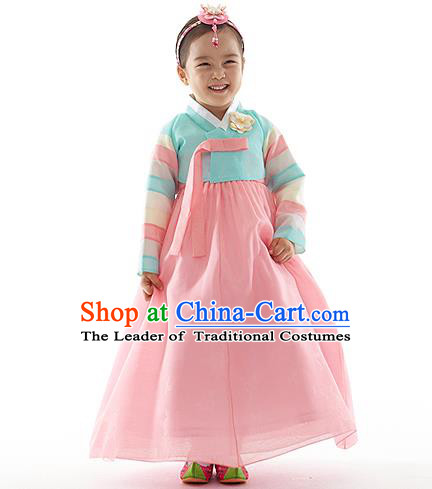 Asian Korean National Handmade Formal Occasions Wedding Clothing Embroidered Blue Blouse and Pink Dress Palace Hanbok Costume for Kids