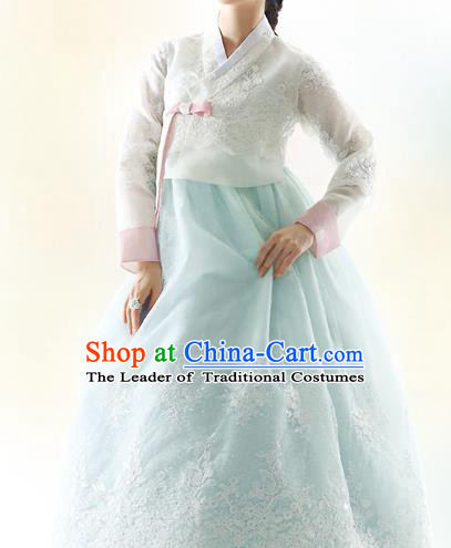 Asian Korean National Handmade Formal Occasions Wedding Bride Clothing Embroidered White Blouse and Green Dress Palace Hanbok Costume for Women