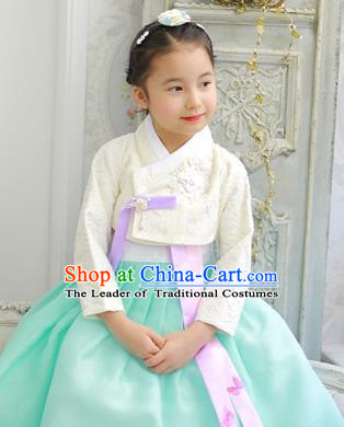 Asian Korean National Handmade Formal Occasions Wedding Bride Clothing Embroidered White Blouse and Green Dress Palace Hanbok Costume for Kids
