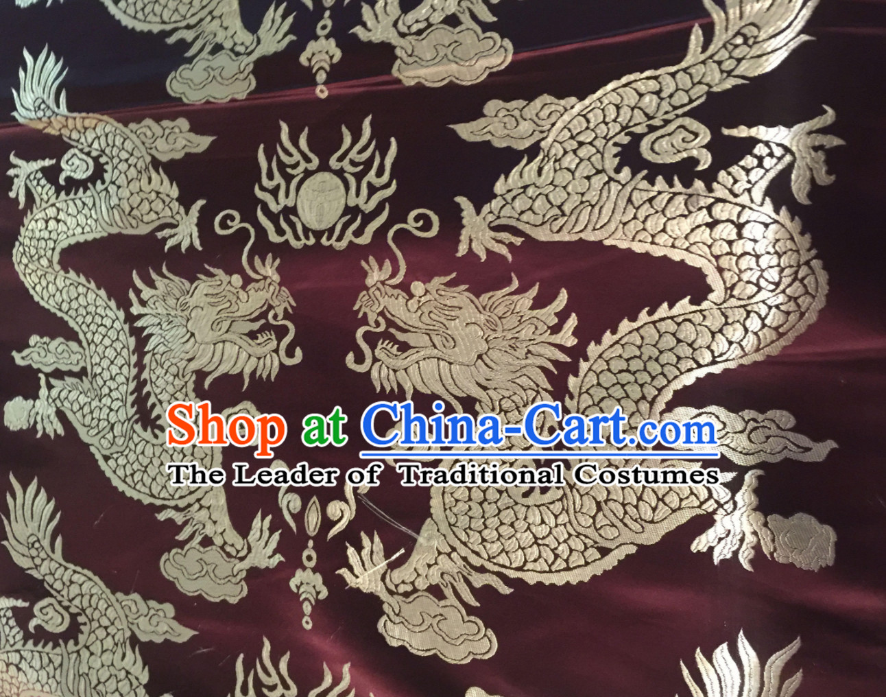 Coffee Asian Chinese Royal Palace Style Traditional Dragon Pattern Design Brocade Fabric Silk Fabric Chinese Fabric Asian Material