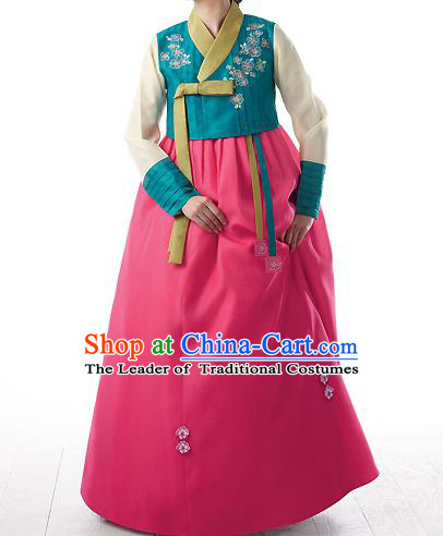 Asian Korean National Handmade Formal Occasions Wedding Bride Clothing Embroidered Green Blouse and Pink Dress Palace Hanbok Costume for Women