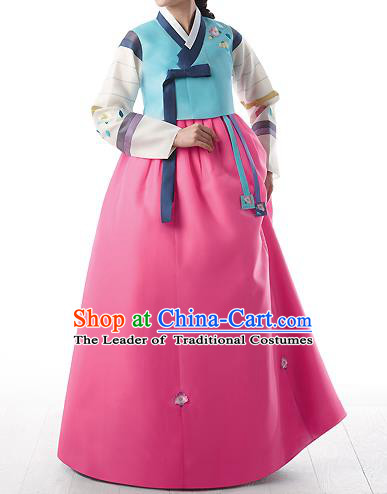 Asian Korean National Handmade Formal Occasions Wedding Bride Clothing Embroidered Blue Blouse and Pink Dress Palace Hanbok Costume for Women