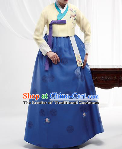 Asian Korean National Handmade Formal Occasions Wedding Bride Clothing Embroidered Yellow Blouse and Blue Dress Palace Hanbok Costume for Women