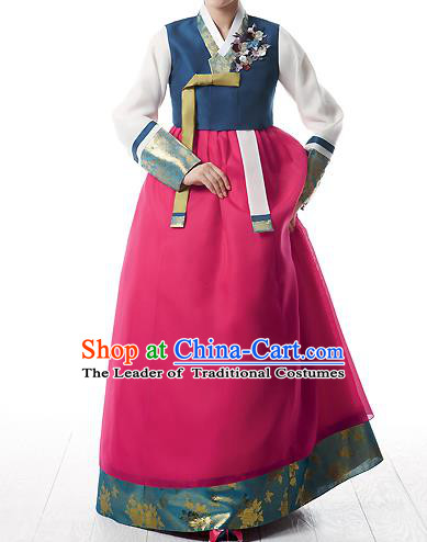 Asian Korean National Handmade Formal Occasions Wedding Bride Clothing Embroidered Navy Blouse and Pink Dress Palace Hanbok Costume for Women
