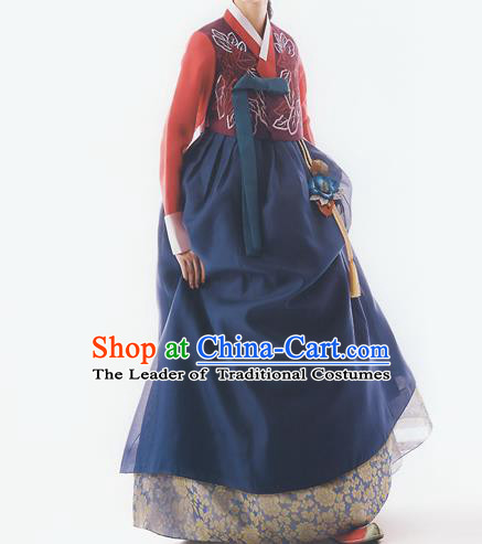 Korean National Handmade Formal Occasions Wedding Bride Clothing Embroidered Red Blouse and Blue Dress Palace Hanbok Costume for Women
