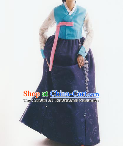 Korean National Handmade Formal Occasions Wedding Bride Clothing Embroidered Blue Blouse and Navy Dress Palace Hanbok Costume for Women