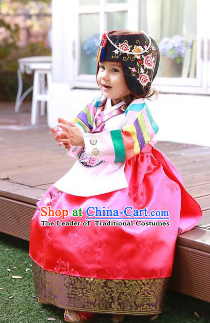 Asian Korean National Handmade Formal Occasions Wedding Bride Clothing Embroidered Pink Blouse and Red Dress Palace Hanbok Costume for Kids