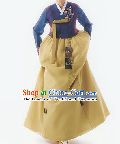 Korean National Handmade Formal Occasions Wedding Bride Clothing Embroidered Blue Blouse and Yellow Dress Palace Hanbok Costume for Women