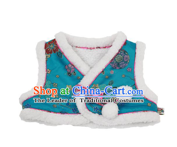 Asian Korean National Handmade Formal Occasions Wedding Bride Clothing Embroidered Blue Vest Hanbok Costume for Kids