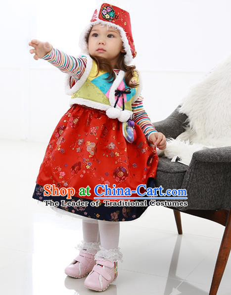 Asian Korean National Handmade Formal Occasions Wedding Bride Clothing Embroidered Yellow Vest and Red Dress Palace Hanbok Costume for Kids