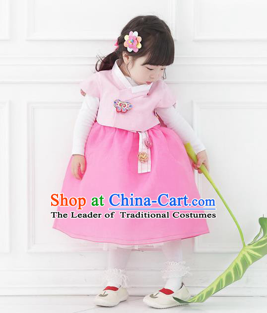 Asian Korean National Handmade Formal Occasions Wedding Bride Clothing Embroidered Pink Vest and Dress Palace Hanbok Costume for Kids