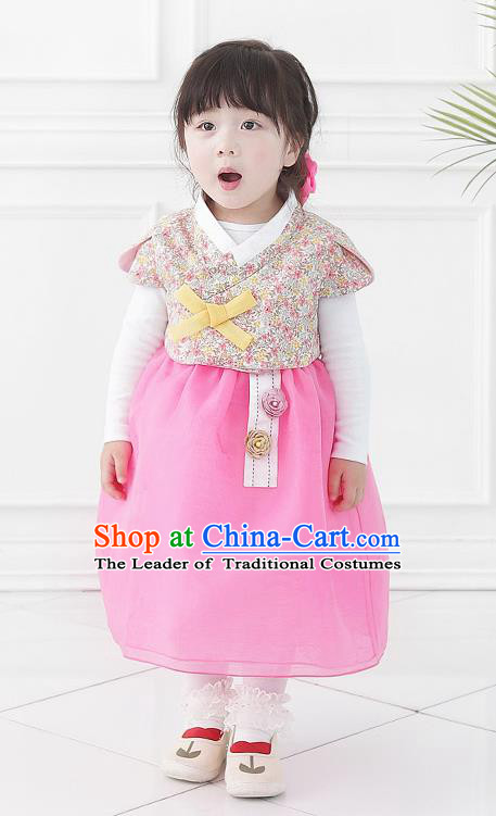 Asian Korean National Handmade Formal Occasions Wedding Bride Clothing Printing Vest and Pink Dress Palace Hanbok Costume for Kids