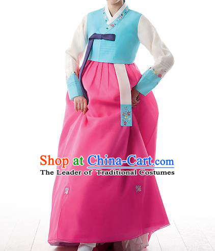Korean National Handmade Formal Occasions Wedding Bride Clothing Embroidered Blue Blouse and Pink Dress Palace Hanbok Costume for Women