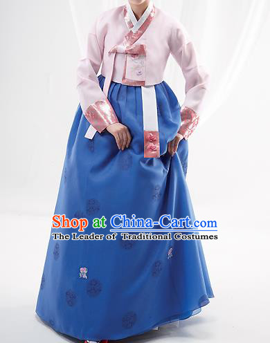 Korean National Handmade Formal Occasions Wedding Bride Clothing Embroidered Pink Blouse and Blue Dress Palace Hanbok Costume for Women