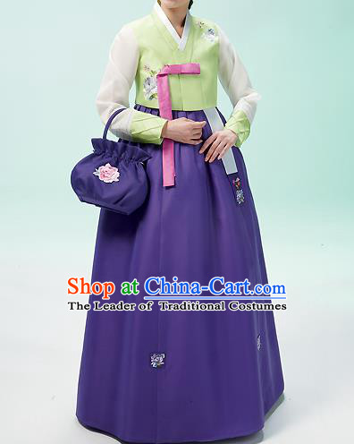 Korean National Handmade Formal Occasions Wedding Bride Clothing Embroidered Green Blouse and Purple Dress Palace Hanbok Costume for Women