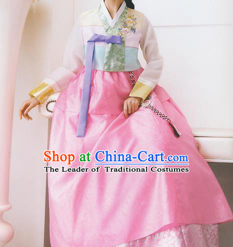 Korean National Handmade Formal Occasions Wedding Bride Clothing Embroidered Pink Blouse and Dress Palace Hanbok Costume for Women