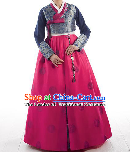Korean National Handmade Formal Occasions Wedding Bride Clothing Embroidered Navy Blouse and Red Dress Palace Hanbok Costume for Women