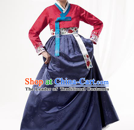 Korean National Handmade Formal Occasions Wedding Bride Clothing Embroidered Red Blouse and Navy Dress Palace Hanbok Costume for Women