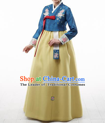 Asian Korean National Handmade Formal Occasions Wedding Bride Clothing Embroidered Blue Blouse and Yellow Dress Palace Hanbok Costume for Women