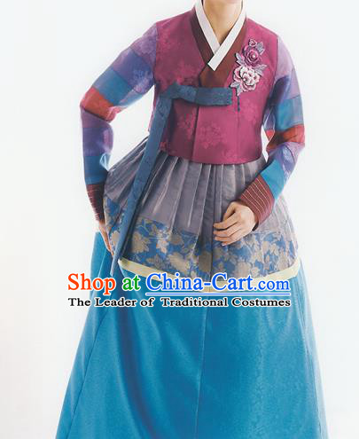 Korean National Handmade Formal Occasions Wedding Bride Clothing Embroidered Wine Red Blouse and Blue Dress Palace Hanbok Costume for Women