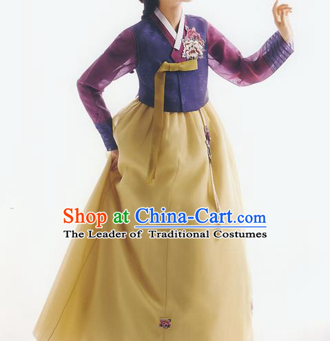 Korean National Handmade Formal Occasions Wedding Bride Clothing Embroidered Purple Blouse and Yellow Dress Palace Hanbok Costume for Women