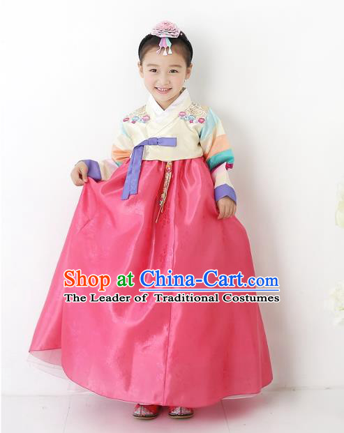 Korean National Handmade Formal Occasions Wedding Bride Clothing Embroidered Beige Blouse and Red Dress Palace Hanbok Costume for Kids