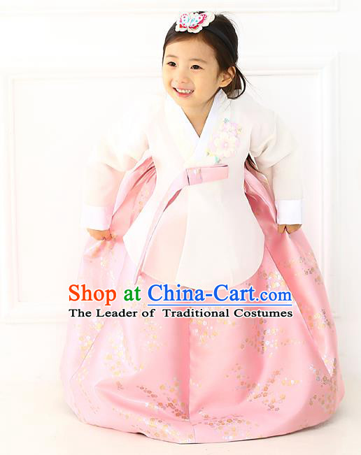 Korean National Handmade Formal Occasions Girls Hanbok Costume Embroidered White Blouse and Pink Dress for Kids