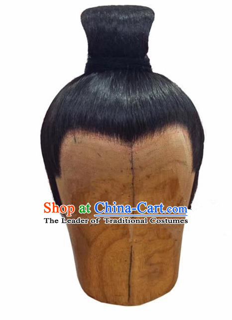 Chinese Ancient Opera Swordsman Chignon Wig, Traditional Chinese Beijing Opera Taoist Priest Wig Sheath for Men