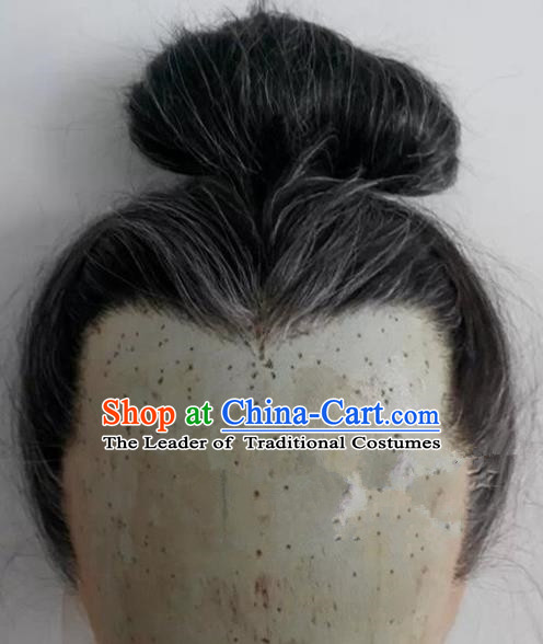 Chinese Ancient Opera Swordsman Old Men Gray Wig, Traditional Chinese Beijing Opera Taoist Priest Wig Sheath for Men