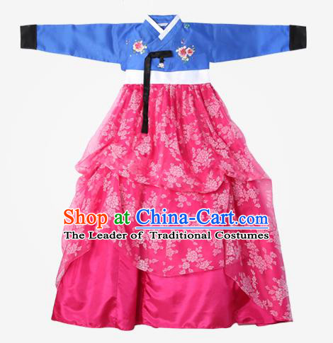 Top Grade Korean National Handmade Wedding Clothing Palace Bride Hanbok Costume Embroidered Blue Blouse and Rosy Dress for Women