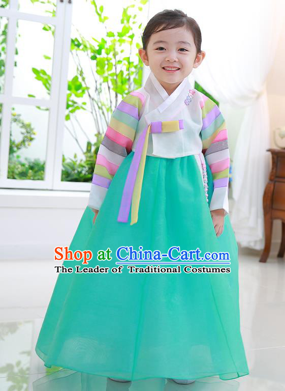 Korean National Handmade Formal Occasions Girls Clothing Palace Hanbok Costume Embroidered White Blouse and Green Dress for Kids