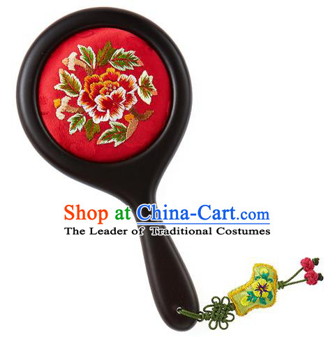 Korean National Accessories Wedding Bride Embroidered Red Cosmetic Mirror for Women