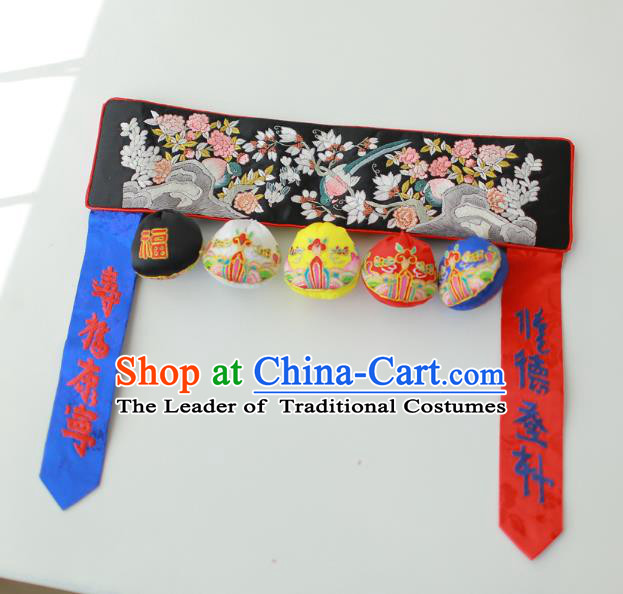 Traditional Korean Accessories Embroidered Birds Flowers Black Waist Belts, Asian Korean Fashion Waistband Decorations for Kids