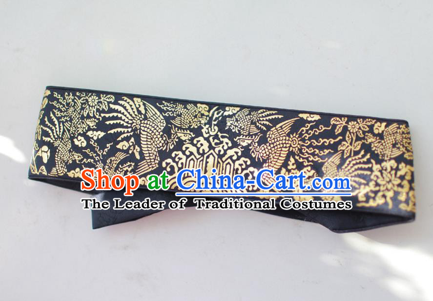 Traditional Korean Accessories Embroidered Phoenix Black Waist Belts, Asian Korean Fashion Waistband Decorations for Kids